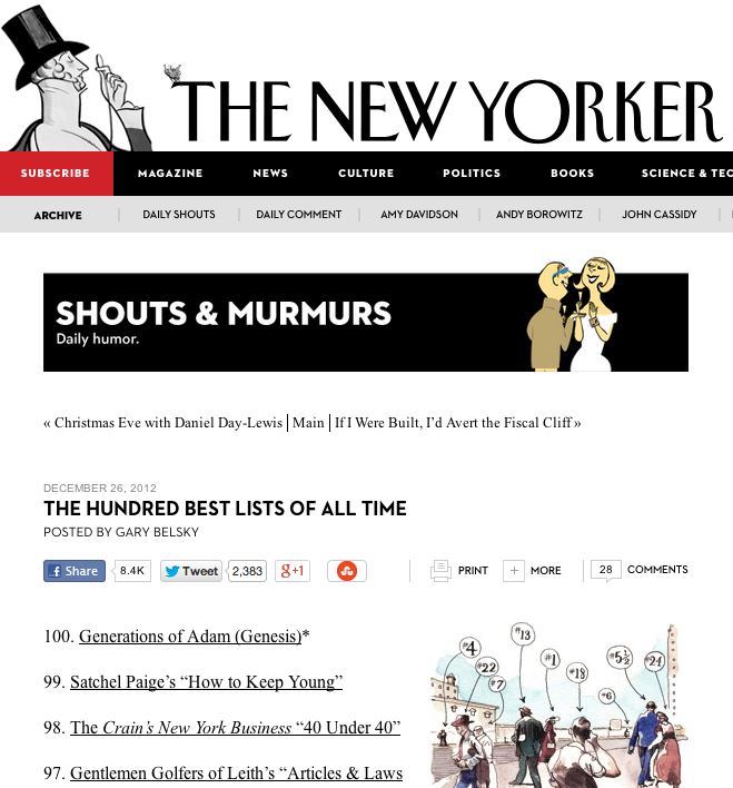 We're on The New Yorker's '100 Best Lists of all Time'